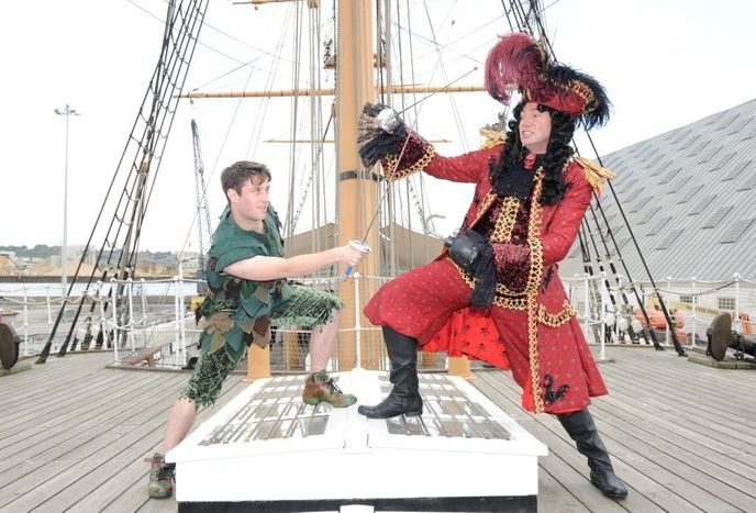 Andy Owens (Peter Pan) and Craig Revel Horwood (Captain Hook)